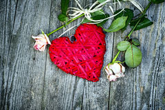 Big Red Wicker Heart With Roses Stock Images