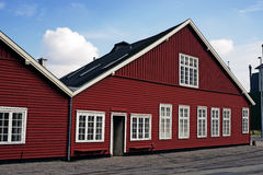 Big red wooden house Stock Photos