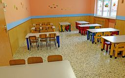 Big refectory of the school canteen before lunch break Royalty Free Stock Image
