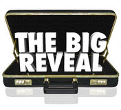 The Big Reveal Opening Briefcase Revealing Mystery Inside. A black leather briefcase with words The Big Reveal inside as a surprise or shocking discovery being Royalty Free Stock Images