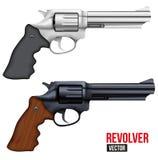 Big Revolver. Silver bright metal Stock Photo