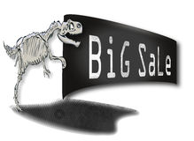 Big Rex dinosaur skeleton with a sign in his paws cheapening Royalty Free Stock Photos