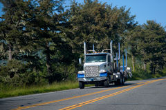 Big rig blue semi truck with trailer for transporting logs on ro Stock Photos
