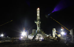 Big Rig. Drilling rig scene at the night Royalty Free Stock Photos