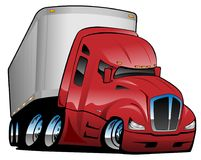 Semi Truck with Trailer Cartoon Vector Illustration. Big rig semi-truck tractor trailer cartoon vector illustration, red, chrome wheels, big tires, aggressive stock illustration
