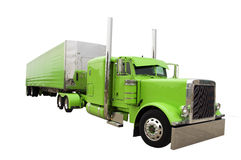 Big Rig Truck. An isolated green big rig truck