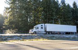Big rig white long haul semi truck with dry van semi trailer standing on winter parking lot with evergreen trees on background. Big rig white long haul bonnet stock photography