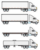 Big Rigs. Four common types of American big rigs or eighteen wheeler tractor trailers stock illustration