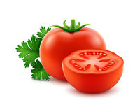 Big Ripe Red Fresh Cut Whole Tomatoes with Parsley Close up Isolated on White Background. Vector Big Ripe Red Fresh Cut Whole Tomatoes with Parsley Close up Stock Photography