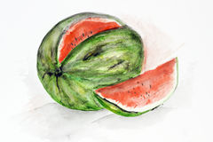 Big ripe watermelon Stock Image