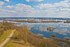 Big river Dnepr in spring time. View from above royalty free stock photography