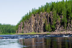 Big river of Eastern Siberia. Tributary of the Yenisei. Royalty Free Stock Photo