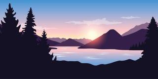 Big river and forest nature landscape at sunrise in purple color stock illustration