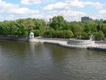 Big river in Moscow, embankment royalty free stock image