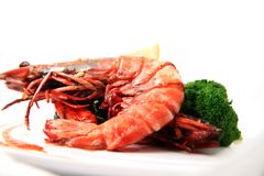 Big river prawn food Royalty Free Stock Photos