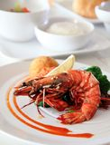 Big river prawn food Royalty Free Stock Photo