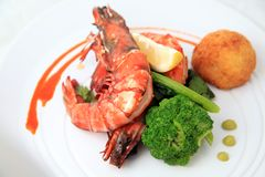 Big river prawn food Stock Photography