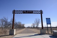 Big River Trail Gateway, West Memphis, Arkansas. The Big River Trail extends from Memphis, Tennessee to Marianna, Arkansas and all points between. Spectacular stock image