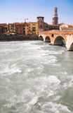 Big river in Verona Italy. Wide angle view Royalty Free Stock Photography