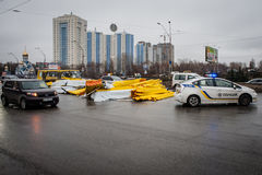 Big road accident in the outskirts of Kiev Royalty Free Stock Photos