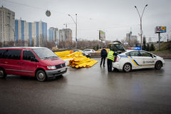 Big road accident in the outskirts of Kiev Royalty Free Stock Photography
