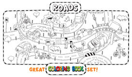 Big road coloring book vector illustration