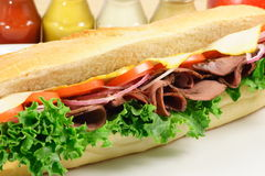 Big roast-beef sub. Great big sub ready to be eat ,roast-beef sandwich a good meal choice Stock Images