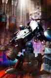 Big robot mecha soldier. 3D render science fiction illustration Stock Image