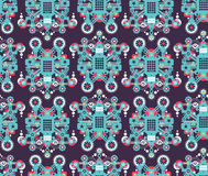 Big robots seamless pattern in blue. Royalty Free Stock Photography