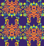 Big robots seamless pattern in orange. Stock Image