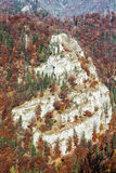 Big rock in the autumn forest, seasonal natural scene Royalty Free Stock Image