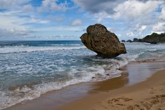 Big Rock on Beach Royalty Free Stock Image