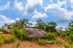 Big rock on the high mountain Royalty Free Stock Images