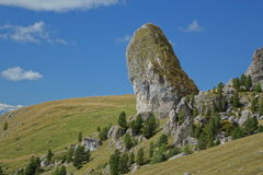 Big rock and the meadows landscape Royalty Free Stock Photo