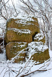Big Rock in northern Illinois. Big Rock at Rock Cut State Park in a snow covered forest Royalty Free Stock Image