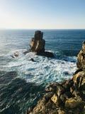 Ocean view. Big rock in the ocean royalty free stock images