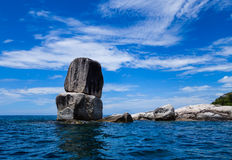 Big rock in the sea. Unusual shaps of stone in the sea Royalty Free Stock Photography