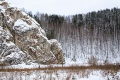 A big rock in the snow. Tall pines and overcast sky. Frozen lake under the snow
