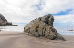 Big rock on volcanic beach. Tenerife Island Stock Photos