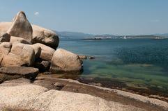 Big rocks. Big rock by the sea in Illa de Arousa, Galicia, Spain Stock Image