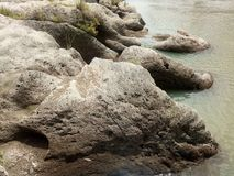 Big rocks of the aesesa river. Large rocks on the edge of the river aesesa neatly arranged, , nagekeo, flores royalty free stock photo