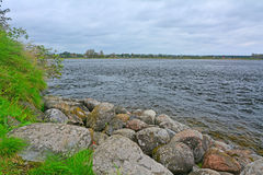 Big Rocks on the coast of Ladoga Lake in Fortress Oreshek near Shlisselburg, Russia Royalty Free Stock Photo