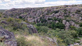 Big rocks of great canyon. Ukrainian canyon in Aktovo , Nikolaev Royalty Free Stock Photography