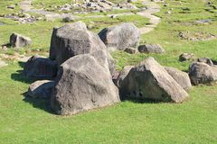 Big rocks in the lawn. Background stock photography
