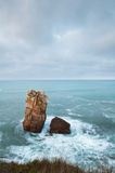Big rocks in the sea. Cantabria, Spain Stock Images