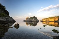 Big rocks in the sea. At sunset royalty free stock photo
