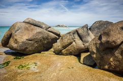 Big rocks and stones on the beach in Brittany in France. Big rocks and stones on the coast in Brittany, France Royalty Free Stock Photo