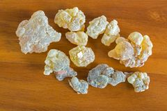 Big rocky pieces of Aromatic yellow resin gum from Sudanese Fran stock images