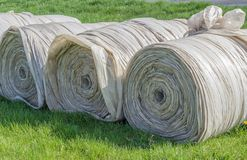 Big rolls with foils. For growing vegetables stock photos