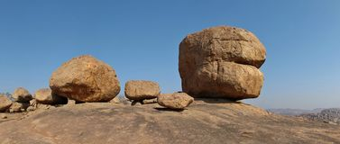 Big round granite boulder in Hampi, India. Unique landscape in Hampi, India. Big granite boulder popular for rock climbing royalty free stock photos